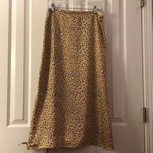 Tan Spotted Midi Skirt